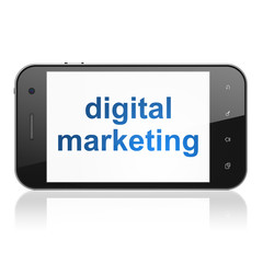 Advertising concept: Digital Marketing on smartphone