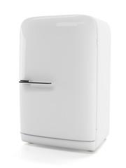 Classic stylish fridge. White old style refrigerator isolated