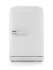 Retro refrigerator isolated on white background. Vintage fridge