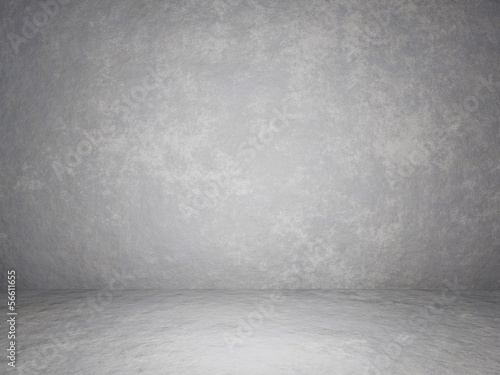 White concrete room. Grungy urban wall and floor
