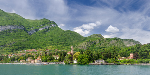 Green hills and coast of Lake Como at Tremezzo