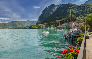 Harbor of Mennagio at Lake Como