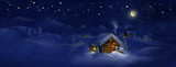 Christmas scenic panorama landscape - huts, church