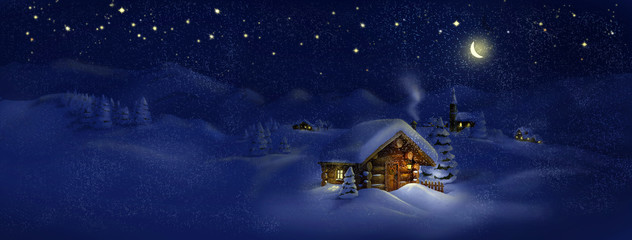 Christmas scenic panorama landscape - huts, church
