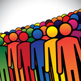 abstract colorful group of people or workers or employees - conc