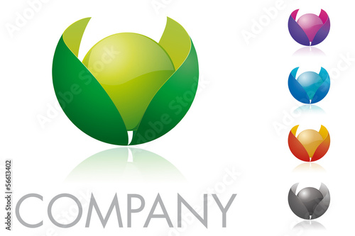 Sphere and Leaves Logo Template