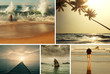 Beach scene collage