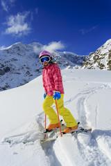 Ski, skier, winter sports - portrait of young skier
