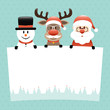 Snowman, Rudolph & Santa Glasses Beard Label Retro