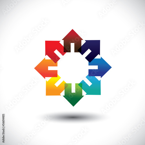 Concept vector of construction industry -  circle of colorful ho