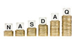 NASDAQ Stock Exchange Letters on Stacks of Gold Coins