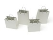 four classic white shopping bags (3d render)