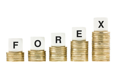 FOREX (Foreign Currency Exchange Market) on Gold Coins Isolated