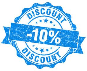 discount 10% blue grunge stamp