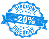 discount 20% blue grunge rubber stamp