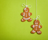 Happy Gingerbread People on Green