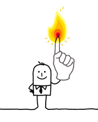 man with one burning fingers