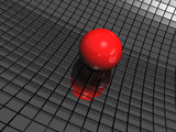 3d background with red ball and black mirrors - 56616696