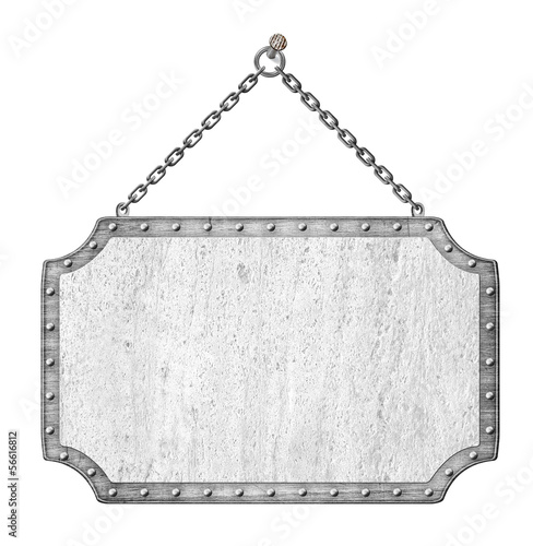 metal signboard with chains isolated