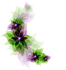Green and purple romantic flowers