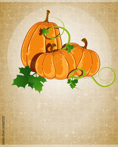 Pumpkins on a beige background