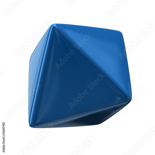 Blue octahedron isolated on white background