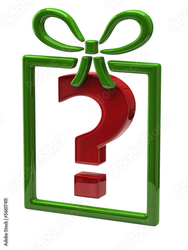 Gift and  red question mark sign on white background