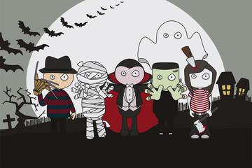 Halloween. Personajes de miedo.