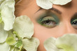 Beautiful make-up. Cropped image of female eyes and flower