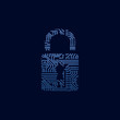 Data security icon. Circuit board padlock. - 56618276