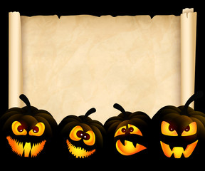 Pumpkins on the background of papyrus