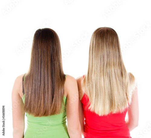 canvas print picture Zwei Mädchen mit langen Haaren von hinten