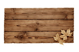 wooden board with leaves