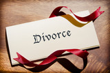 Still Life Of Divorce Document On Wooden Desk