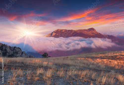 Dramatic autumn sunrise in the mountains