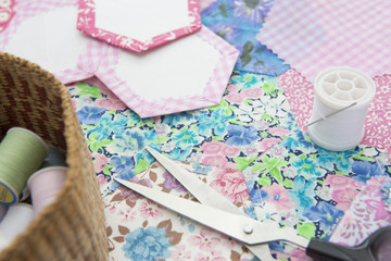Stilll Life Of Quilt Making Fabric And Accessories