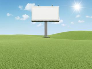 Blank Billboard on beautiful landscape