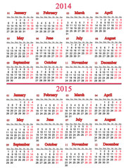 calendar for two nearest years