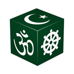 Hinduism, Buddhism, Islam - Forest Green Cube
