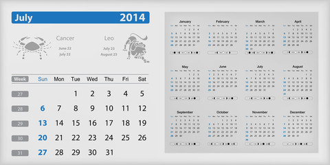 Calendar 2014 - July highlighted
