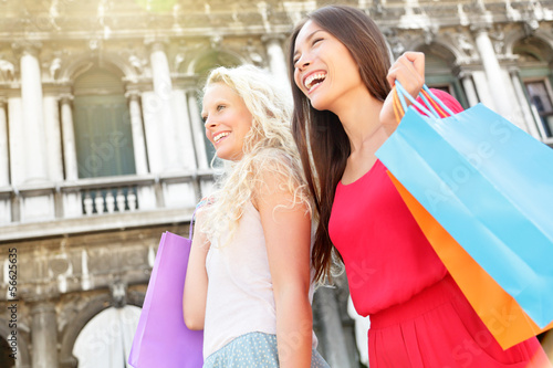 Shopping women happy holding shopping bags, Venice