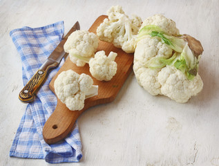 Cauliflower on the chopping board