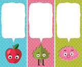 Vertical School banners/Bookmarks. apple, leaf, brain characters