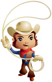 Cowboy throwing lasso chibi style