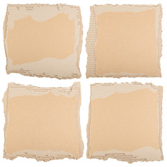 Four pieces of brown cardboard
