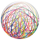 Complex ball made of colorful strings