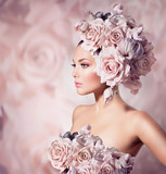 Fototapety Fashion Beauty Model Girl with Flowers Hair. Bride