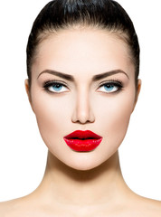 Beauty Portrait. Professional Makeup for Brunette with Blue eyes