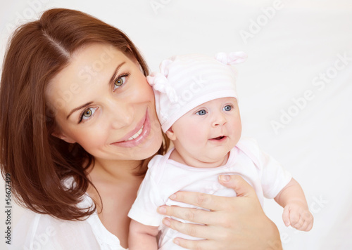 Young mother with baby boy