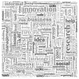 Idea and business concept in word tag cloud on white background